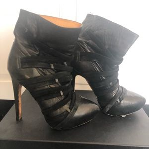 L.A.M.B. Leather Heeled Booties